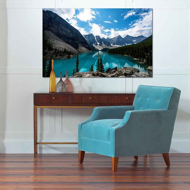3D Grüner See, Blauer Himmel Fototapeten Wandbild BildTapete Familie AJSTORE DE