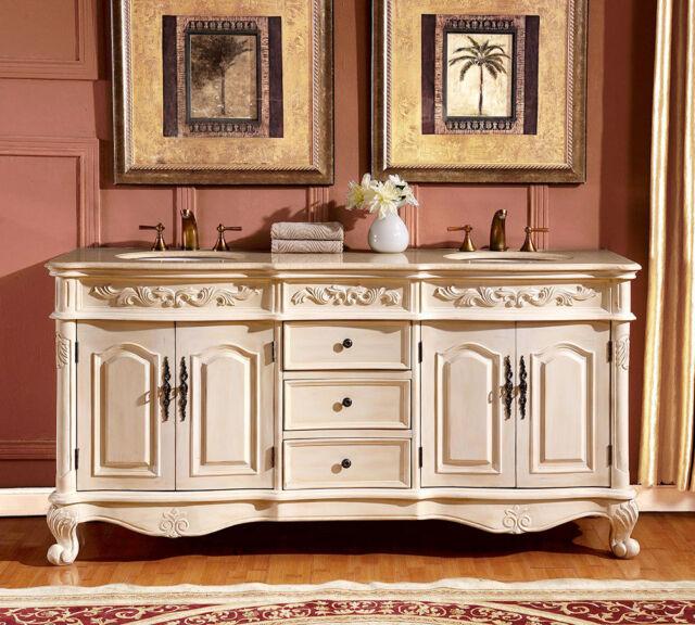 72 Inch Double Sink Vanity Marble Top Bathroom Cabinet Bath Furniture 0250CM