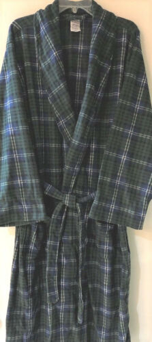 Robe mens one size fits most new pockets Fruit of the Loom plaid fleece green