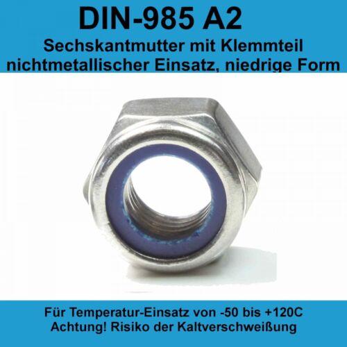 M8 DIN 985 Sicherungsmuttern A2 Edelstahl selbstsichernde Stopmuttern 20-500 St.