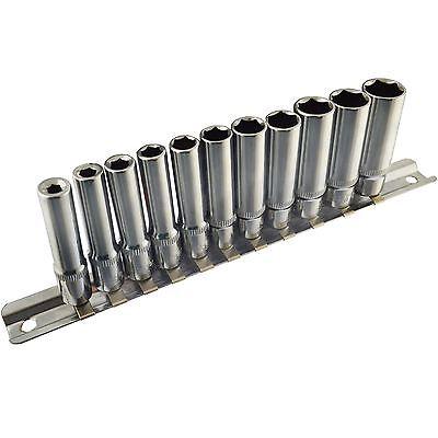 11pc 1//4 Drive Metric MM Deep 6 Sided Hex Sockets 4mm 13mm On A Rail