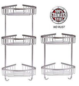 Stainless Steel Shower Caddy Rust Free Bathroom Shelf Corner Organizer Basket Ebay