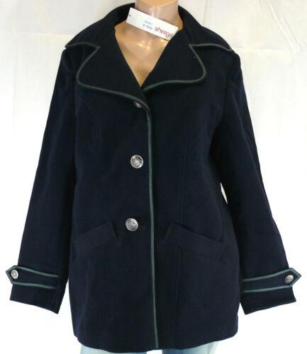 Sheego Veste 40 Marine Bleu Gris Femmes Doux dufflecoat Style Manteau Court Top Neuf
