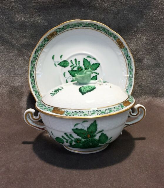 Herend #743 Green Chinese Bouquet Footed Cream Soup Cup /& Saucer