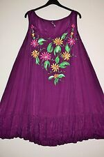 EVANS UK 22 24 Ladies Satin Rayon Hand Painted Flowers Beach Tunic Dress Quirky