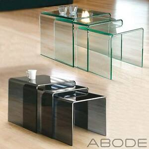 New milan set of 3 bent glass nest of side tables coffee set curved image is loading new milan set of 3 bent glass nest watchthetrailerfo