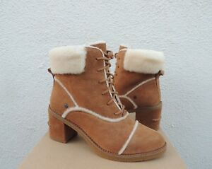 9cf32df1997 Details about UGG ESTERLY CHESTNUT SUEDE/ SHEEPSKIN HIGH HEEL LACE UP  BOOTS, US 8.5/ 39.5 ~NIB