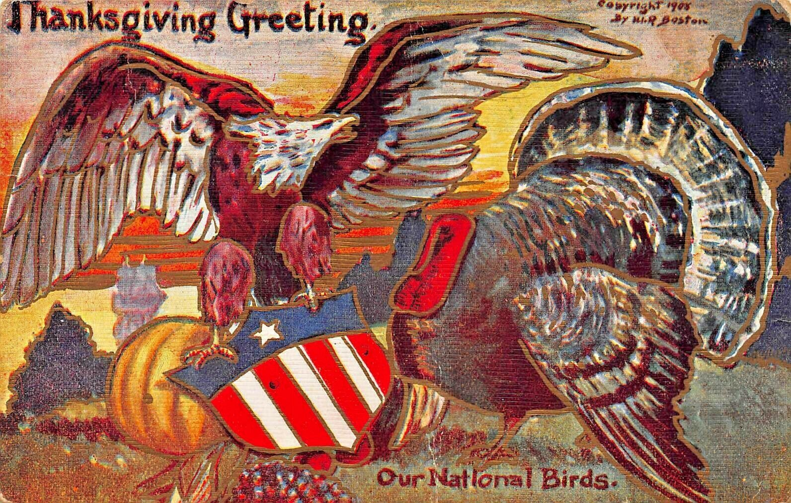 PATRIOTIC THANKSGIVING~OUR NATIONAL BIRDS~TURKEY-EAGLE-EMBOSSED 1911 POSTCARD