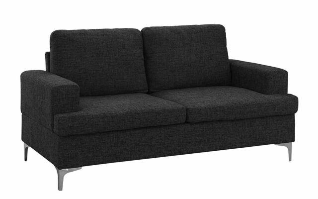 Linen Fabric Small E Sectional Sofa