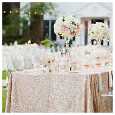 """Pink Sequin Table Cloth Champagne Color Dinner Wedding Party Decor Event 60x102"""""""