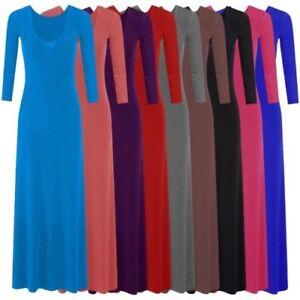 Neuf A Manches Longues Femmes Longue Robe Longue Jersey 8 14 Ebay