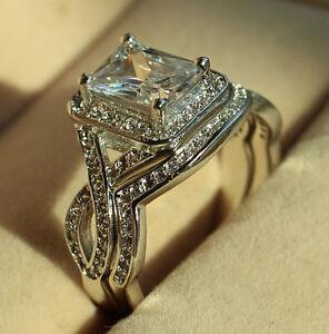 image is loading princess cut diamonique cz white gold filled engagement - Diamonique Wedding Rings
