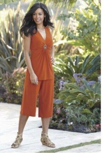 Midnight Velvet Orange Diamond Embellished Gaucho Pant Set Cruise 3X 24W 26W