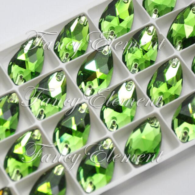 24pcs Sew On Rhinestone 3230 Teardrop 13x22mm Green Tourmaline Crystal Flat Back