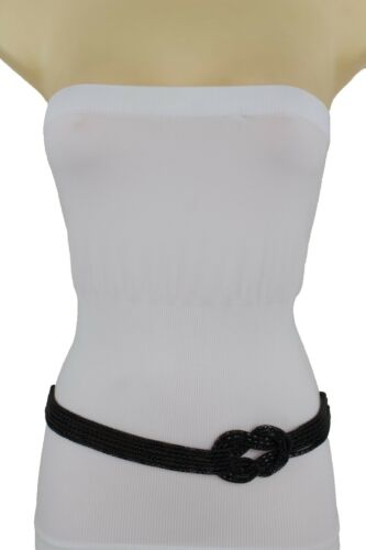 Women Narrow Hip High Waist Fashion Belt Black Metal Infinity Buckle Size M L XL