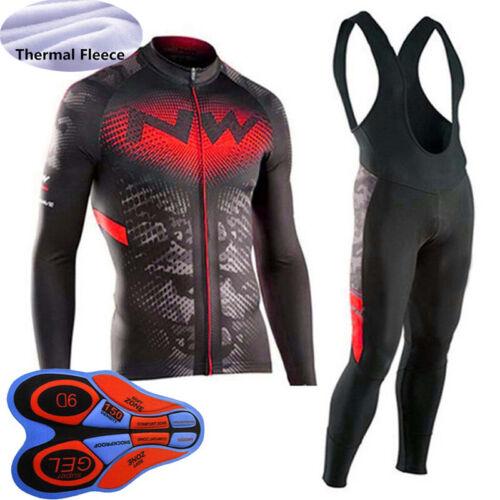 Mens Cycling Jersey Sets Winter Thermal Fleece Long Sleeve Top Bib Pants Suit