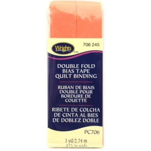 """Wrights 7//8/"""" Double Fold Bias Tape Quilt Binding 3-Yards Pick Color PC706"""