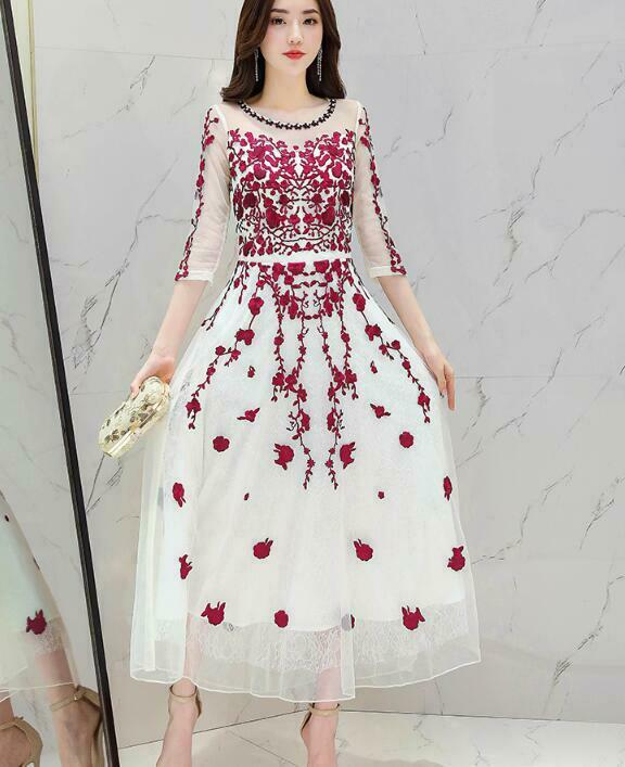 Fashion Women 3 4 Sleeve Ball Gown Evening Host Embroidery Long Dress Party