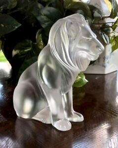 Lalique-BAMARA-LION-Crystal-Scupture-Mint-Condition-Signed-Authentic-Gorgeous
