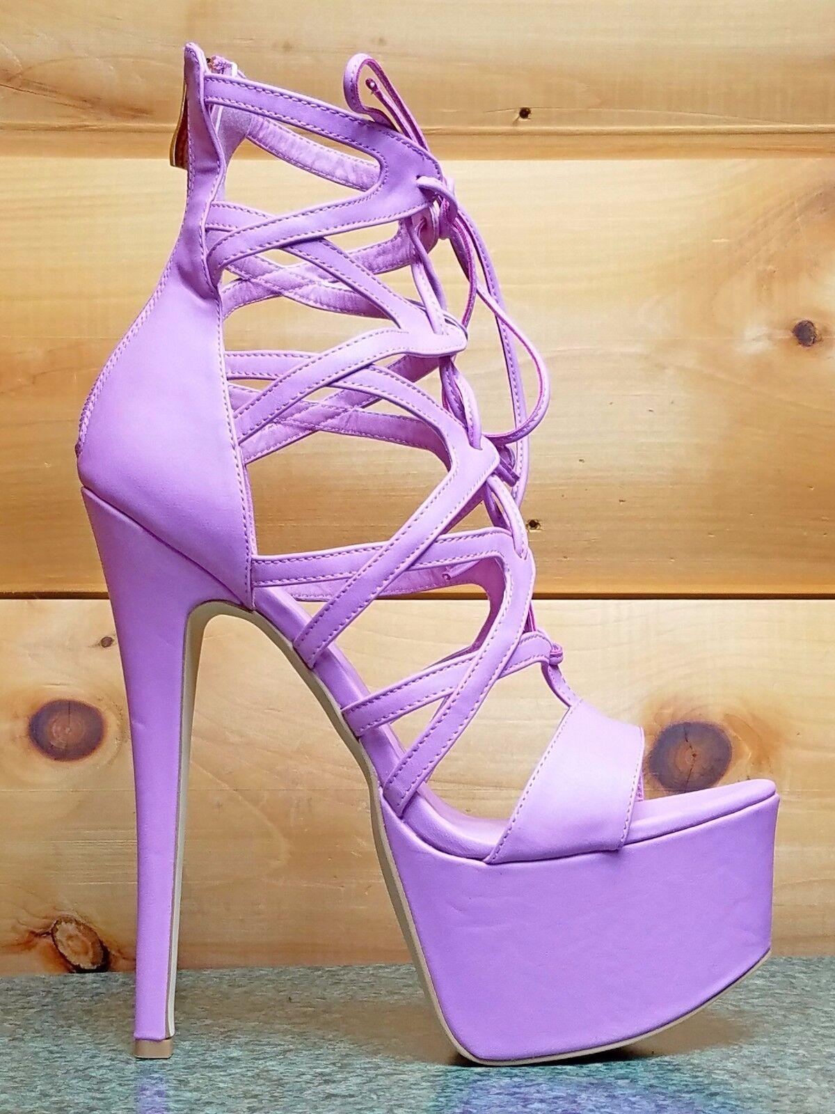 Pachanga Lavanda Púrpura púrpura Con Cordones 7    Zapatos De Plataforma Tacón Alto Talla 10  edición limitada