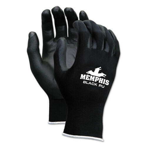 Economy Pu Coated Work Gloves, Black, X-Large, 1 Dozen