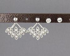 silver crystal ear jacket front back earrings double look stud spike 2 pair post