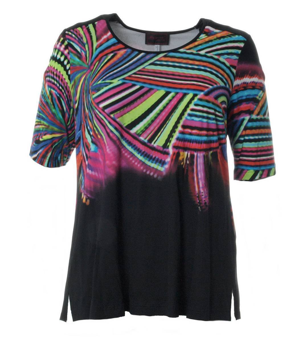 Sempre Piu ❤ kurzarm Shirt Damen große Größen mit Aufdruck bunt bedruckt Viskose