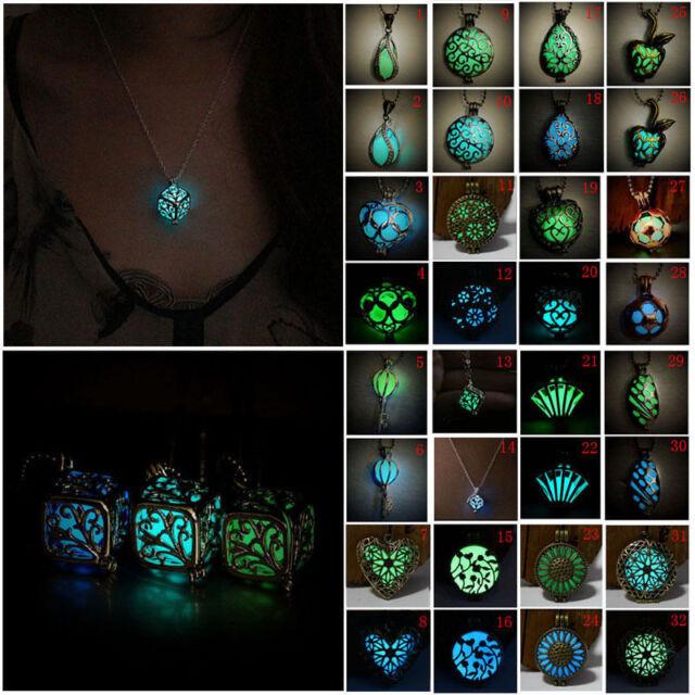 Fashion Luminous Glow In The Dark Locket Pendant Jewelry Unisex Necklace Punk