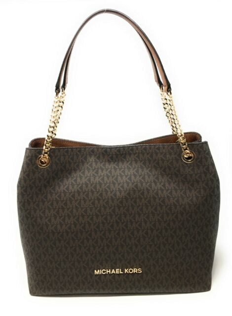 Michael Kors Jet Set Item Large Chain Shoulder Tote Handbag Leather Signature