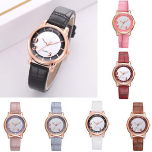 3c7a2b4d7 Image is loading Womens-Fashion-Luxury-Leisure -Auger-Leather-Stainless-Steel-