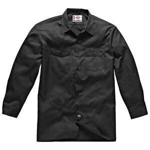 Dickies-Long-s-work-shirt-Noir-Black-travail-chemise-chemises