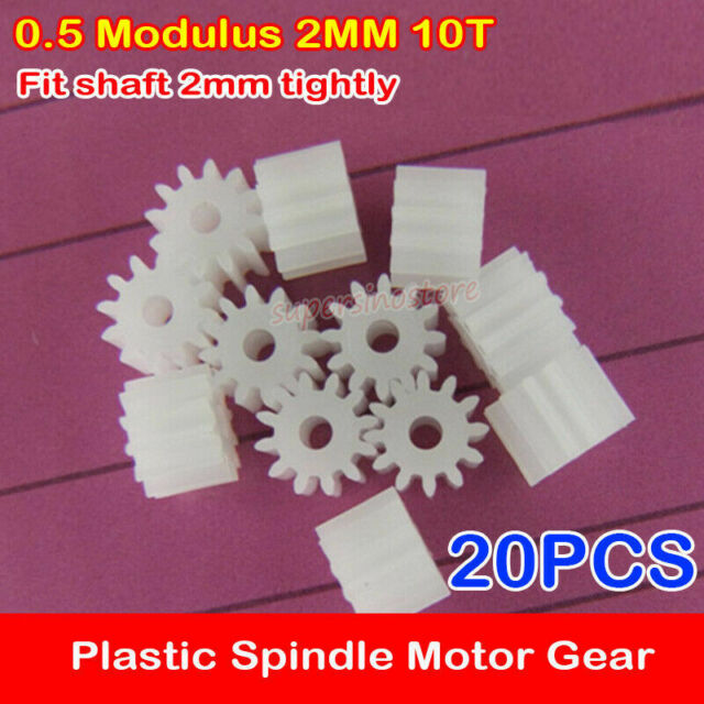 20 Pcs 5.5mm x 2mm 9 Teeth Plastic Gear for Car Model Motor Gearbox Shaft