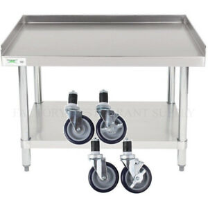 Details About 24 X 36 Heavy Equipment Stand W Casters Stainless Steel Work Table Commercial