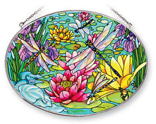 Water Lilies Sun Catcher AMIA Hand Painted Large Oval Dragonflies New Lily Pads