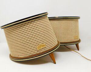 Vintage-Retro-Isophon-Lautsprecher-Paar-ungetestete-Musik-Stereoanlage-1960-039-s