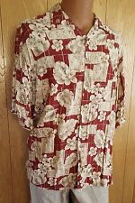 Pierre Cardin Mens Size XL Hawaiian Button Shirt Rusty Red Tropical Floral Rayon