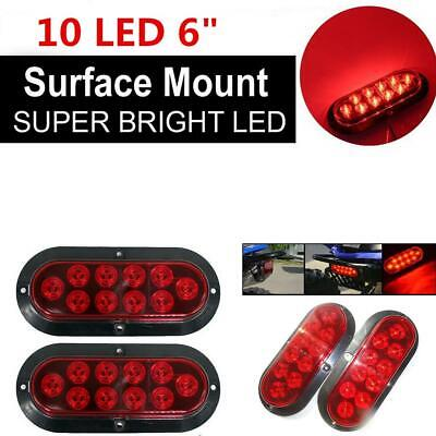 "Trailer Truck LED RED 6/"" Oval 10LED Stop Brake Turn Tail Light w//grommet plug 2"