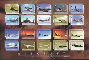 SINGAPORE-2003-AIRCRAFT-SERIES-COLLECTOR-039-S-SHEET-OF-20-STAMPS-SC-1070k-IN-MINT