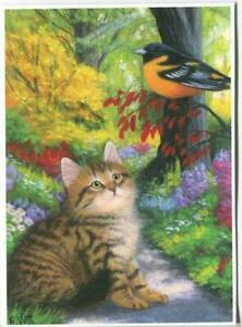 ACEO FLUFFY TABBY CAT AUTUMN FALL GARDEN ORIOLE BIRD PATH TREES NATURE ART PRINT