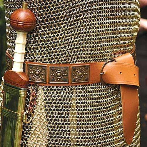 ROMAN SOLDIER LEGIONAIRE CENTURION Mens Brown Leather BELT SWORD HOLDER 2-1//8/""