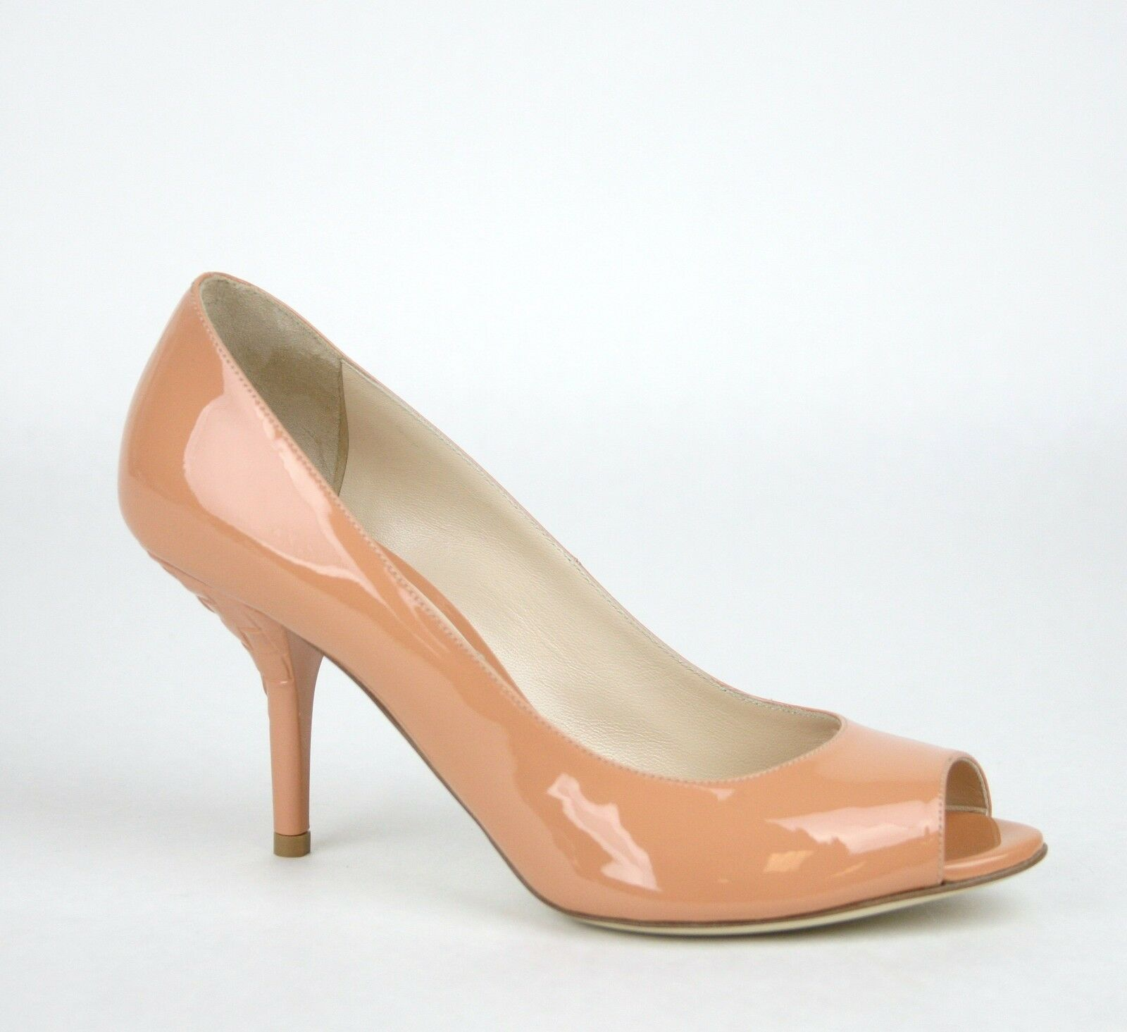 760 New Bottega Veneta Patent Leather Heel Pump Woven Detail Peach 322713 7805