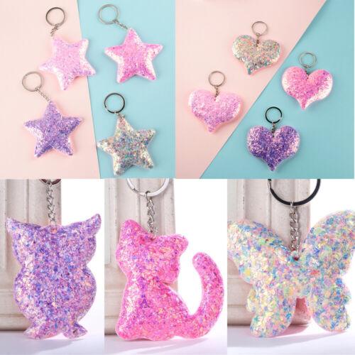 Animal Pattern Women Men Pig Keyring Sequins Keychain Handbag Pendant Glitter