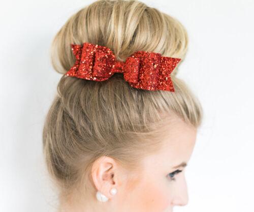 Sparkling Glitter Hair Bow Bobble//Alligator Clip Girl//Baby Party Bling Bows Gift