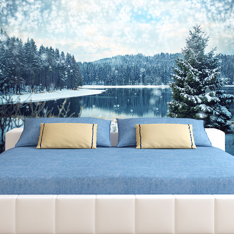 3D Blanco Como La Nieve Nieve Nieve Lago Verde Tree Impresión De Pared De Papel De Pared Calcomanía Pared AJ Wallpaper CA 033171
