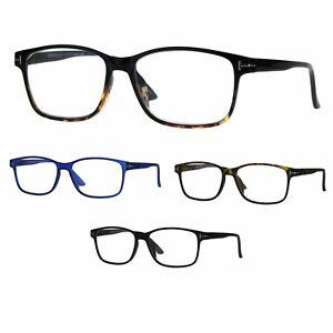 baee4b2495e Image is loading Mens-Narrow-Rectangular-Thin-Plastic-Reading-Glasses