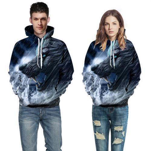 Men//Womens Wolf Skull 3D Print Hoodie Sweatshirt Pullover Jumper Jacket Coat Top