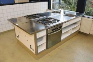 Details zu Edelstahl Kochzeile Küche Küchenblock Küchenzeile m. Gasherd  Backofen Spüle