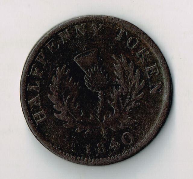 1840 PROVINCE OF NOVA SCOTIA HALF PENNY TOKEN - NS1E1 'LARGE 0'