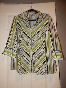 Fred-David-Womens-Blouse-Plus-Size-1X-Button-Down-3-4-Sleeve