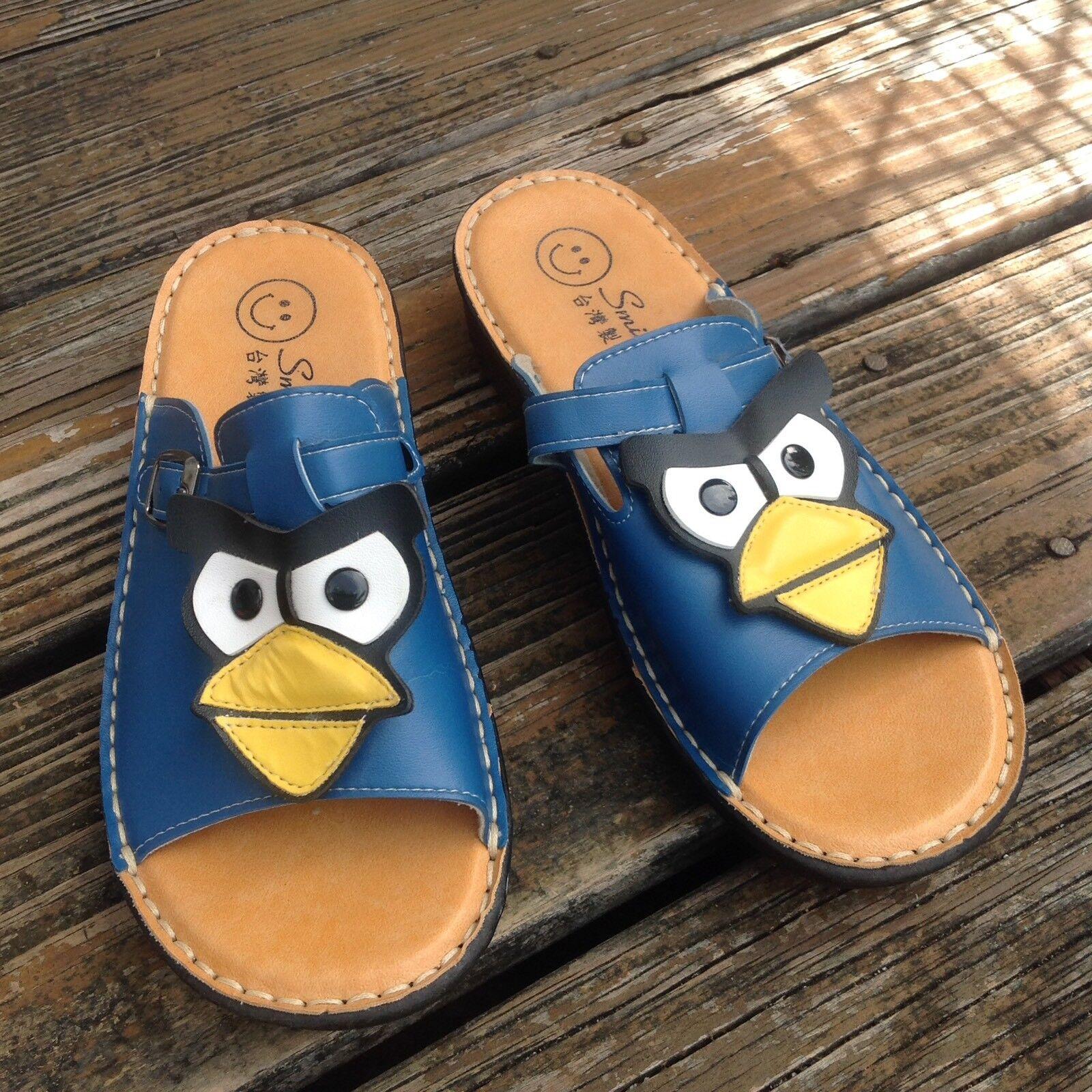 Smile Blau Angry Birds Slip On Sandals damen 9 39 Mules Slides schuhe Open Toe